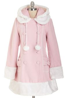 For the Winnipeg Coat in Pink. Snugly buttoned up in this luxurious pastel-pink coat, you head out into the chilly Winnipeg air for a night at the theater! #gold #prom #modcloth