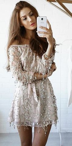 Gold Sequin Off Shoulder Dress @roressclothes closet ideas #women fashion outfit #clothing style apparel