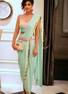 Sleeveless net blouse for party wear Western Dresses, Indian Dresses, Indian Outfits, Western Outfits, Saree Wearing Styles, Saree Styles, Saree Gown, Sari, Dhoti Saree