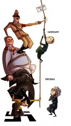 WW II: Germany and Prussia<<<notice that Germany is the one climbing, not Prussia (T ^ T) see! Prussia is an awesome big brother!