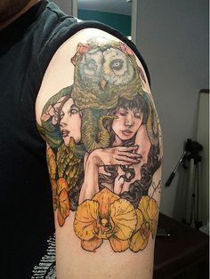 owl + orchid + twin beauties arm tattoo . Christel Perkins