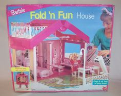 Barbie Fold 'n Fun House... the first Barbie house I ever had!! This was really cool because it was so portable - you could fold it up into a case that was also the roof.