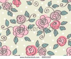 hand draw seamless  flowers on green background