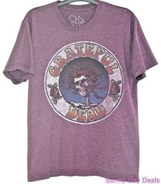 Chaser Mens T-Shirt Grateful Dead 1972 Heather Purple Jerry Garcia SS Tagless M #Chaser #GraphicTee