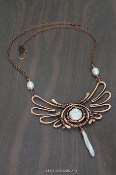 Copper necklace, Wire wrap pendant, pearls pendant, Wire wrapped jewelry, handmade, white