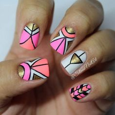 Gold and Neon Tribal Nail Design.