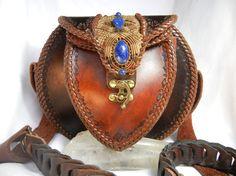 Round Leather Purse with Macrame Inlay set with Lapis by Elquino
