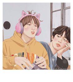 Chanbaek Fanart, Baekhyun Fanart, Exo Chanbaek, Baekhyun Chanyeol, Exo Couple, Couple Art, K Pop, Exo Fan Art, Anime Art