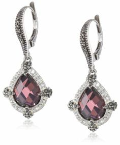"""Judith Jack """"Charisma"""" Sterling Silver, Marcasite and Amethyst Colored Teardrop Earrings Judith Jack, EARRINGS AND THINGS if you wish to buy just CLICK AMAZON right HERE http://www.amazon.com/dp/B00AJGKKH8/ref=cm_sw_r_pi_dp_sW6Ksb1HS65G4H1P"""