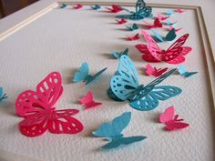 Rose Pink & Turquoise 3D Butterfly Art. Home by aboundingtreasures