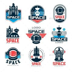 Exploration space logo set, space project vector Illustrations on a white backgr. Exploration space logo set, space project vector Illustrations on a white background. Logo Design Inspiration, Icon Design, Badges, Space Projects, Space And Astronomy, Badge Design, Game Logo, Space Exploration, Graphic Design Typography