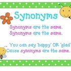 These synonyms and antonyms posters are a simple way to help students recall the relationships between words. Bright and colorful, with a bee theme...