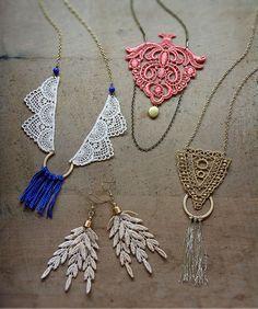 lace necklace // ARIS / cobalt fringe / long necklace / bohemian / tassel