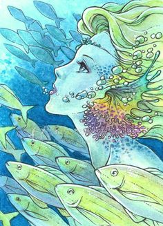 Open Edition ACEO Print - Blonde Mermaid with Colorful Ears Swimming with Yellow Fish - Journey Home - Fantasy Art by Mitzi Sato-Wiuff Unicorns And Mermaids, Mermaids And Mermen, Fantasy Kunst, Fantasy Art, Zentangle, Fauna Marina, Mermaid Pictures, Merfolk, Fantasy Illustration