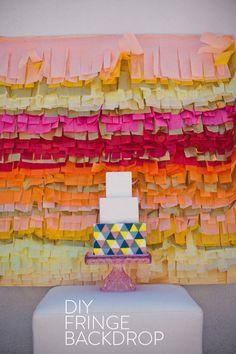 DIY Fringe Cake Backdrop