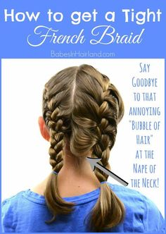 How to get a Tight French Braid If you struggle with getting a tight or tidy French braid, come watch our video. We're sharing a few pointers to help you improve your French braiding skills and achieve a nice tight French braid! Braiding Your Own Hair, Your Hair, How To Braid Hair, How To French Braid, French Braid Short Hair, Two French Braids, French Plait Tutorial, French Braid Styles, How To Braid Your Own Hair Short