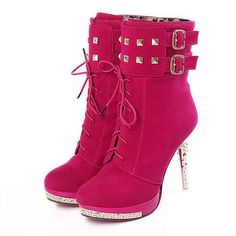 Sexy Lace Up Rivets High Heels Suede Fashion Boots on Luulla Platform Ankle Boots, Lace Up Ankle Boots, High Heel Boots, Bootie Boots, Shoe Boots, Red Platform, Ankle Booties, Boot Heels, Heeled Boots