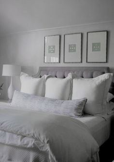 ♅ Dove Gray Home Decor ♅ bedroom in white and grey