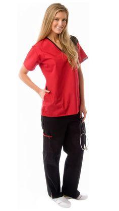 Women's 5 Pocket Contrast Durable Medical Scrubs