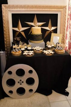 Boys Hollywood Birthday party dessert Table Decorations