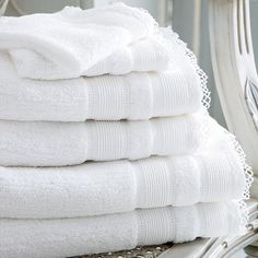Lace Edged Fluffy Towels--Cologne & Cotton--BATHROOM--Towels #Cologne & Cotton #Towels