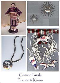 "Caesar Family art (Pawnee/Kiowa) *Amy says - Thanks for pinning! This is a nice representation of the arts and crafts my family produces. My sister Krystal made the doll. My father Bruce made the ""star burst"" pins. My brother Adam made the cut out necklace. My mother Arlene made the choker necklace and cedar bag and cedar filled buckskin animals.*"