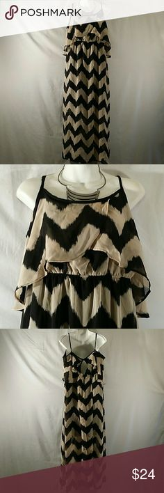 NWOT * Maxi Dress * Plus Size Beautiful * Black/Tan * Sleeveless * Adjustable Straps * Full Length * Polyester * Bundle and Save No Boundaries Dresses Maxi