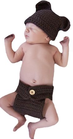 Melondipity's Teddy Bear Hat and Diaper Cover Set - Chocolate Brown Crochet. Teddy Bear Hat and Diaper Cover Set for Newborn Boys. Beautiful Dark Chocolate Brown Color - 100% Crocheted. Hat and Diaper Cover SET. Great Prop for Newborn Boy Photoshoot!. Adorable Bear Ears on Hat.