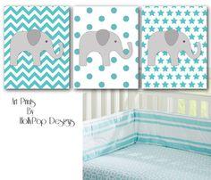 Aqua Nursery Decor-Neutral nursery wall decor-Art Prints baby girl boy-Harper Aqua Pottery Barn-Elephant Wall Decor-Chevron Polka Dot Stars on Etsy, $35.00