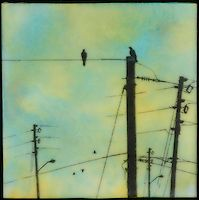 Mixed media encaustic painting with photo transfer in blues and greens of birds on telephone poles