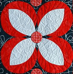 """Coral Blossoms"" block from C&T Publishing's book ""Flip & Fuse Quilts"" by Marcia Harmening of Happy Stash Quilts"