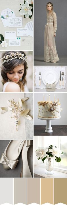 Magnolia, Grey and Old Gold wedding inspiration - Read more on One Fab Day: http://onefabday.com/magnolia-grey-old-gold-wedding-colour-inspiration/