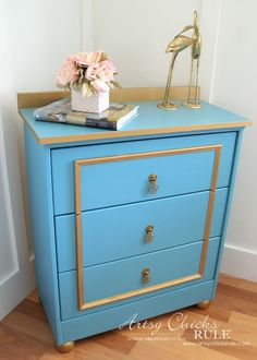 Fancy Blue and Gold Chest – IKEA Rast Hack - Don't love the colors, but I really like the feet and the top.