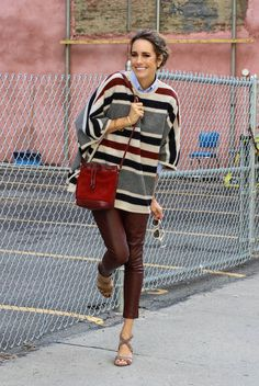 fall / winter - street style - street chic style - casual outfits - fall outfits - office wear - work outfits - party outfits - night out outfits - burgundy leather skinnies + striped poncho + pale blue shirt + burgundy tassel suede bucket bag + beige suede strappy heeled sandals