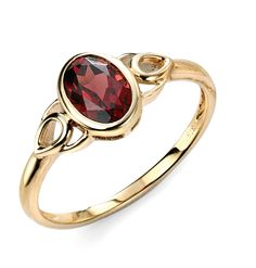 9ct Yellow Elements Gold Garnet Celtic style Ring
