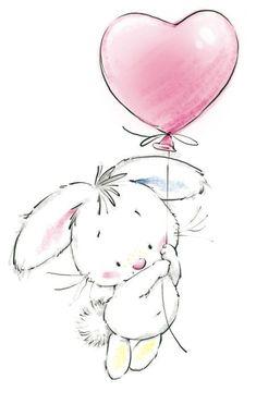 coelho balão coração
