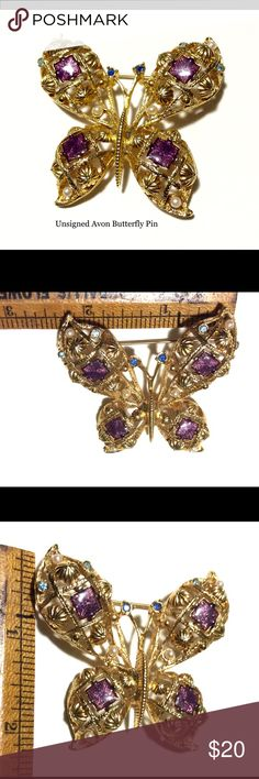Vintage Avon Butterfly Brooch Pin Beautiful Gold tone metal Brooch with beautiful embellishments.  Unsigned Avon. Vintage Jewelry Brooches