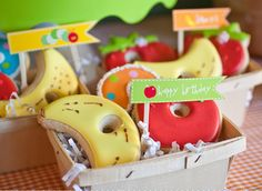 the hungry caterpillar cookies - in a fruit basket