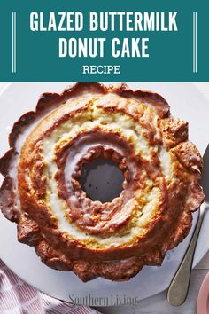 "This oversized ""donut"" is sure to be a hit. Although this dessert looks straight from the donut shop, the recipe itself is a moist and tender pound cake with added leavening, which gives the cake the Desserts Keto, Just Desserts, No Bake Desserts, Cake Mix Desserts, Puff Pastry Desserts, Lemon Desserts, Plated Desserts, Food Cakes, Cupcake Cakes"
