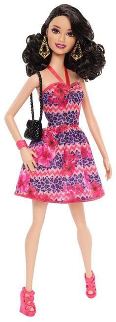 Barbie Fashionista Raquelle Doll, Pink and Purple Dress