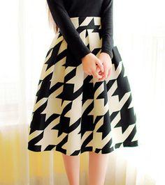 Vintage High-Waisted Houndstooth Ruffled Midi Skirt For Women