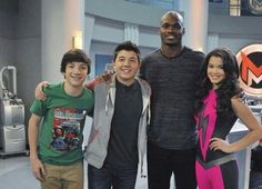 On the set of Mighty Med. Bradley Steven Perry, Jake Short & Paris Berclc.