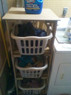 Upcycled Pallet Laundry Basket Holder with TILE top by IRecreate It. Tiles are 25% off this month!   come #getinspired & #greenYOURproject with us!