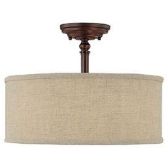 Ayla Semi-Flush Mount in Burnished Bronze & Beige