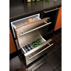 Designed for today's integrated kitchens bars, this Haier Undercounter Dual Drawer Refrigerator in Stainless Steel offers ample space to store your items. Kitchen Redo, Kitchen Design, Kitchen Island, Kitchen Ideas, Undercounter Refrigerator, Refrigerator Cabinet, Commercial Appliances, Outdoor Kitchen Patio, Mini Fridge