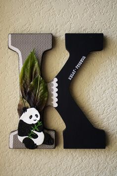 Panda Bear Wall Letter (different coloring would make this adorable! My sis will love this!! It's even her 1st letter of her name :-)