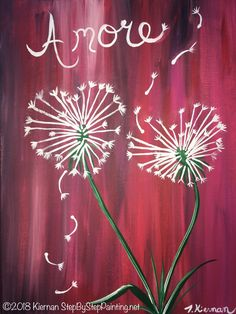 How To Paint Dandelion Hearts. Step By Step Painting Tutorial by Tracie Kiernan! Easy beginner tutorials with step by step pictures and easy to follow instructions.