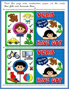 Verb Have Got - Board Game Who is Who? - Speaking Cards