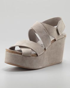 Delsie Suede Crisscross Wedge Sandal, Pumice by Pedro Garcia at Neiman Marcus.