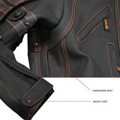 The Vulcan VTZ-910 Motorcycle Jacket is made of premium cowhide leather. It features advanced design with <b>underarm zippered vents</b> that drop heat and reduce sweat. Its <b>elastic panels</b> on elbows and armholes allow for maximum comfort in riding position. Along with its many other feature are bright <b>orange stitching</b>, <b>YKK zippers</b>, high-visibility reflective stripes, and <b>removable CE approved arm...